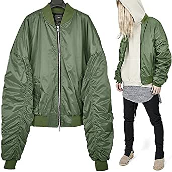 (ヴァンプ) VAMP 黄緑 ドロップショルダー ロングスリーブ ギャザーナイロン MA-1 ブルゾン ジャケット free 厚手 中綿