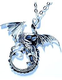 ライジングドラゴン(昇龍) デザイン ウイング(翼)&鱗彫り装飾 シルバーカラー メンズ ペンダント ネックレス