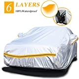 """Autsop Car Covers Waterproof,Car Cover for Sedan/SUV/Hatchback 6 Layers All Weather Protection Universal Full Cover with Zipper A2-3XL(Fits Sedan 181"""" to 190"""") Silver"""