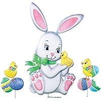 Easter Bunny and Chicksアウトドアガーデンデコレーション用 – 3個入ります。Yard Stakeセット
