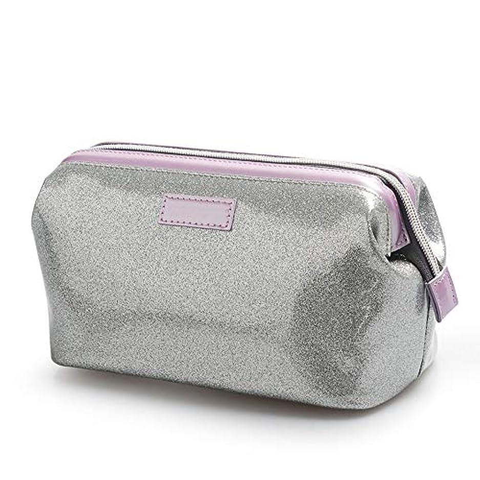 反対したサッカー算術男性の女性のための防水化粧ケース大容量化粧品袋オーガナイザー収納-silver