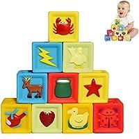 elfishjp 赤ちゃん 積み木 立方体 音が出る 柔らかおもちゃ 知識教育 ゴム積み木 想像力 創造力 感知力 出産お祝い お誕生プレゼント