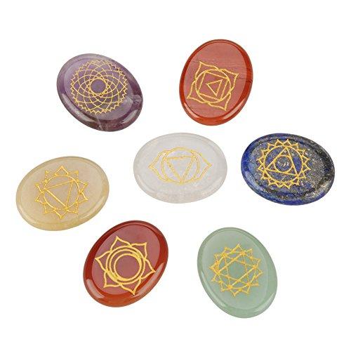 チャクラストーン7個/セット彫刻精神的癒しの瞑想パームストーンレイキチャクラクリスタルセラピー安心の、ポジティブなエネルギー