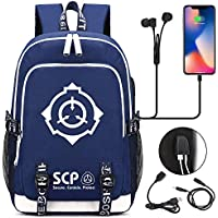 SCP Foundation Notebook Backpacks Student School Bag Laptop Backpack with USB Charging Port and Headphone Ports Travel Bag for SCP Foundation Fans