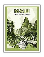 マウイ島、ハワイ - バレー島 - Iao 谷 - ビンテージなハワイの旅行パンフレット c.1929 - アートポスター - 28cm x 36cm