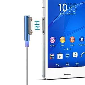 Leesentec Sony Xperia Z シリーズ充電ケーブル マグネット式USBケーブル LED付き 1m マグネット充電ケーブル ブルー