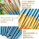 画材筆 ペイント 10本セット ブラシ アクリル筆 水彩筆 油絵筆 画筆 丸筆 平型筆 平型円頭筆 短毛筆 アクリル絵の具 (ブルー) 画像