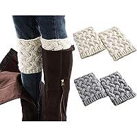Women Boot Cuffs - Winter Knitted Boots Socks Crochet Short Leg Warmers