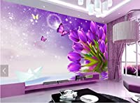 Sproud カスタムの花柄の壁紙には、紫色のチューリップ、 3 室のベッドルームのテレビの背景防水壁紙 250 Cmx 175 Cm リビングの D 写真の壁画