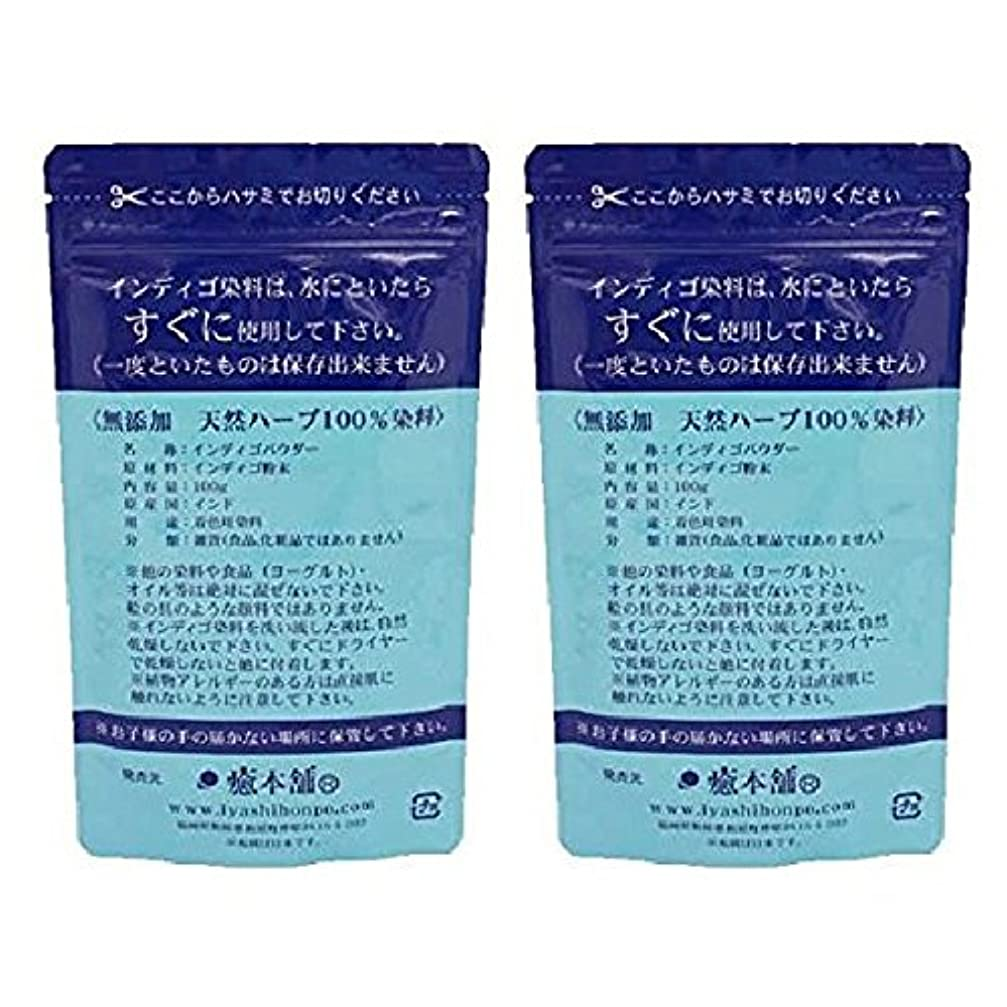 仮称ツール商品天然染料100% 癒本舗 インディゴ 100g×2個セット 白髪染め ヘアカラー ノンシリコン