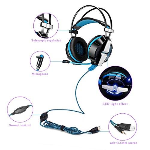 Dpower ゲーミングヘッドセット ヘッドホン K11シリーズ 3.5mm コネクタ 高集音性 マイク付 ヘッドアーム伸縮可能 耐摩素材 騒音隔離 プレイステーション4 PS4 Xbox One タブレット iPhone スマートホン などに対応 LEDライティング GS700