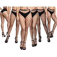 Fullsexy Plus Size Stockings, Fishnet Tights Suspander Pantyhose Thigh High with Thongs for Women
