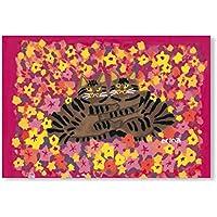 猫の足あと ポストカード 「お花のなかでなかよし」