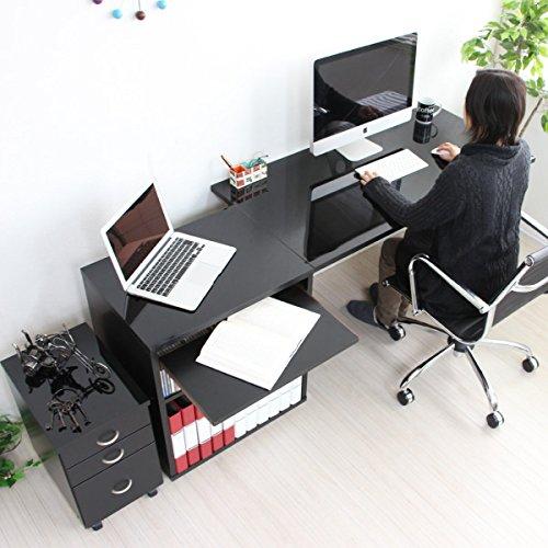 【限定】パソコン デスク 鏡面 120cm 幅 60cm 幅 ラック スライドテーブル チェスト ブラック 日本製 JS18N-BK