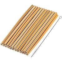 オーガニック竹を飲むわら、手作りの天然木製のわら-クリーニングブラシ&ストレージポーチ、プラスチックにエコフレンドリーな代替と (イエロー)