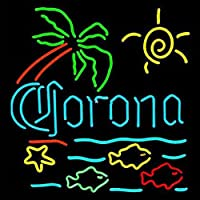 コロナライト魚ハンドクラフトRealガラスビールバーパブストアパーティーDecor Neon Signs 19x 15