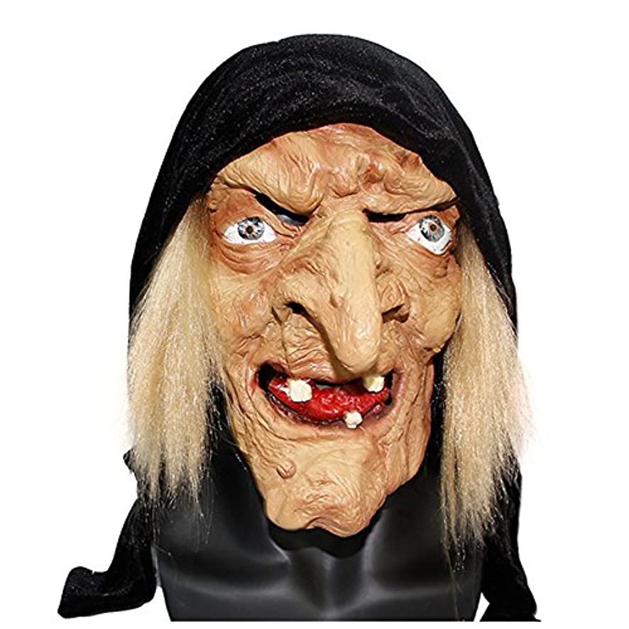 十代石炭不誠実ハロウィンマスク魔女の顔ラテックスヘッドギア怖いお化け屋敷のおもちゃホラー大人の女性の装飾的なフェイスマスク