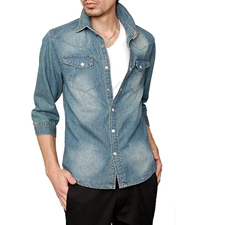 保持アソシエイト容量[ジェネレス] デニムシャツ メンズ デニム シャツ ウエスタン 七分シャツ 七分袖 ダンガリーシャツ 大きいサイズ アメカジ 344006H