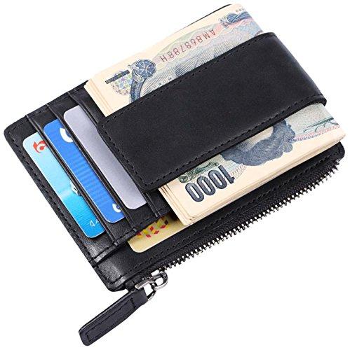[パボジョエ]Pabojoe カード入れ カードケース 財布 メンズ 革 小銭入れ付き 名刺 入れ スキミング防止 薄型 軽い コンパクト ホルダー ブランド 多機能 ブラック