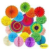 誕生日 飾りけ ハニカムボール 紙ファンの装飾 紙扇子 ファッション クリエイティブ カラフルな 誕生日パーティー、結婚式、宴会、記念日などに適しています (マルチカラー) チュアンツェ