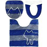 オカ 【ネット限定】 うちねこ 洗浄3点セット トイレマット 約60×60cm ブルー