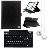 VanGoddy Arthur 11.6インチタブレットポートフォリオケースfor Dell Inspiron 113000with Bluetoothキーボード&ホワイトヘッドフォン(ブラック)
