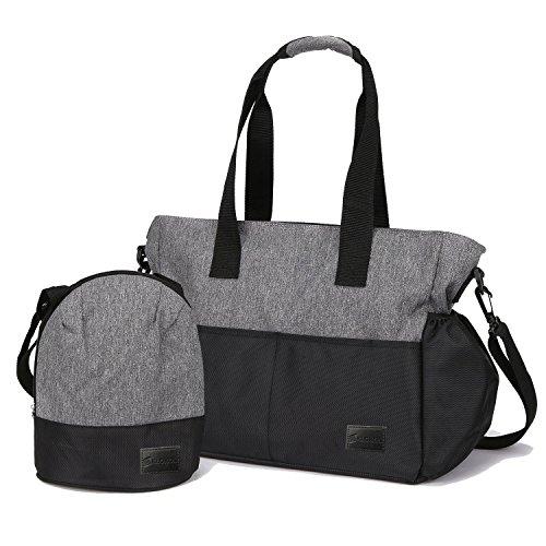 マザーズバッグ 多機能 大容量 軽量 耐水 ママバッグ 保温バッグ付き ベビー用 ベビーカー用 旅行用 収納 ブラックグレイ