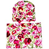 Newborn Girl Stunning Receiving Swaddle Blanket and Cap with Bow 2 PCE Set Flower Print (Dark Pink)