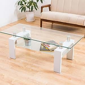 美感でスタイリッシュ お洒落なセンターテーブル 「120マックス(クリアガラス)」 ディスプレイ ホワイト色
