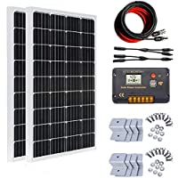 ECO-WORTHY 200W ソーラーパネル発電キット: 2個 100W 新しい単結晶ソーラーパネル + 10m ソーラーケーブル(5m 赤・5m 黒)+ 20A チャージコントローラー + Y 型コネクター + Z 取付金具 12/24v 発電システム