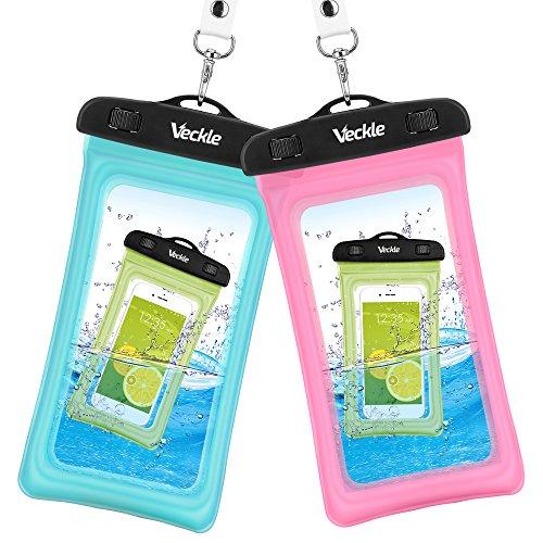 防水ケース Vcekle スマホ用 防水カバー ポーチ 透明パック IPX8規格 TPU素材 【iPhone7 Plus その他最大6インチスマホに対応】 2本セット ブルー+ピンク