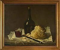 古典フレーム Jean Baptiste Simeon Chardin ジクレープリント キャンバス 印刷 複製画 絵画 ポスター(ボトルガラスとパンのある静物) #JK