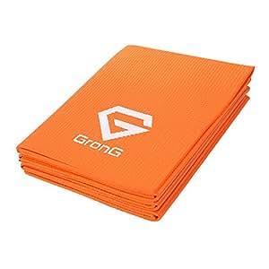 GronG(グロング) 折りたたみ ヨガマット トレーニングマット エクササイズマット 4mm オレンジ