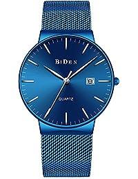 メンズ ファッション防水ステンレス薄型腕時計ブルー クォーツウォッチクラシック デザイン青い時計