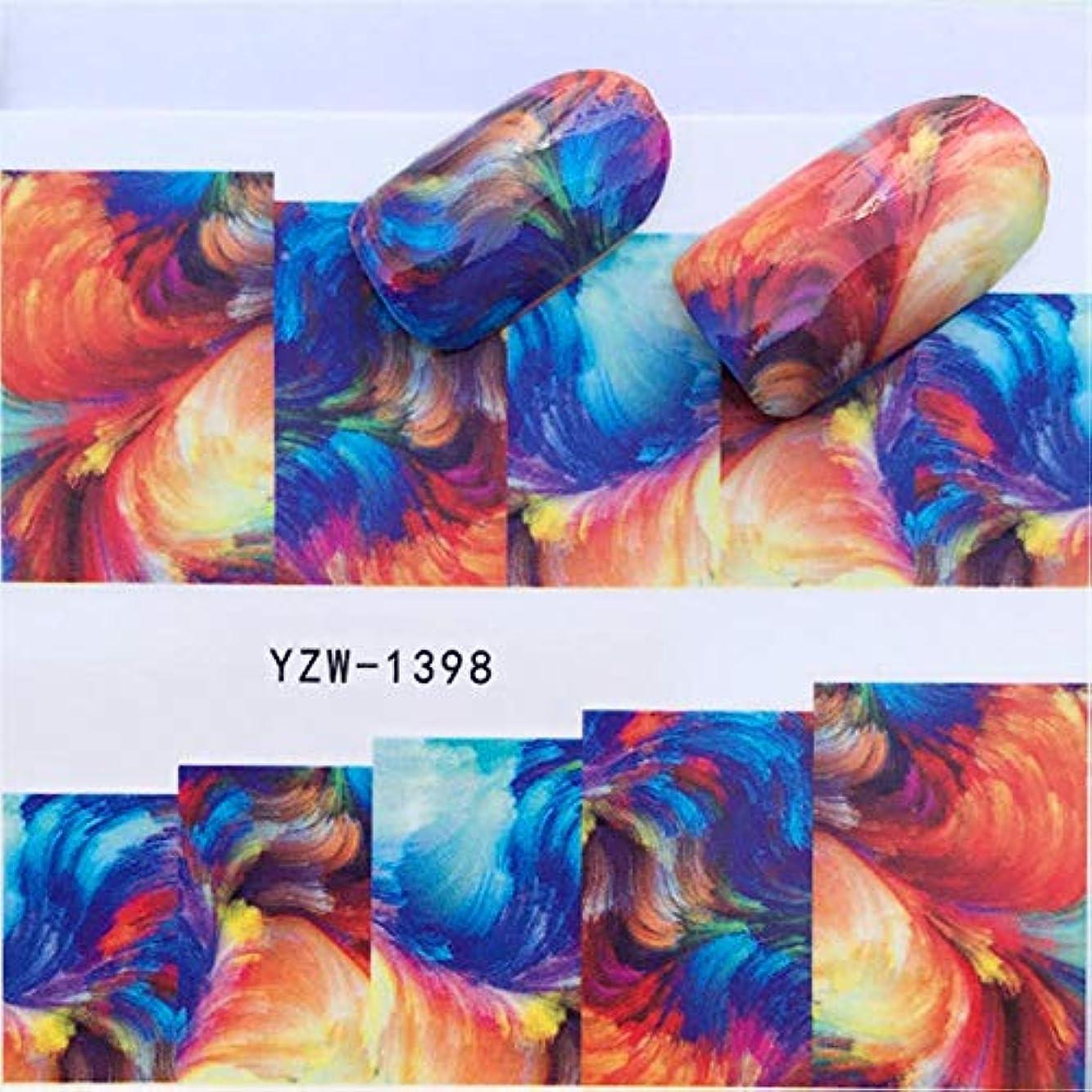 流哲学的側溝SUKTI&XIAO ネイルステッカー 1シートカラフルな水彩花Parttenネイルスライダーアート水転写ステッカーネイルアートデコレーションデカールマニキュア、Yzw-1398
