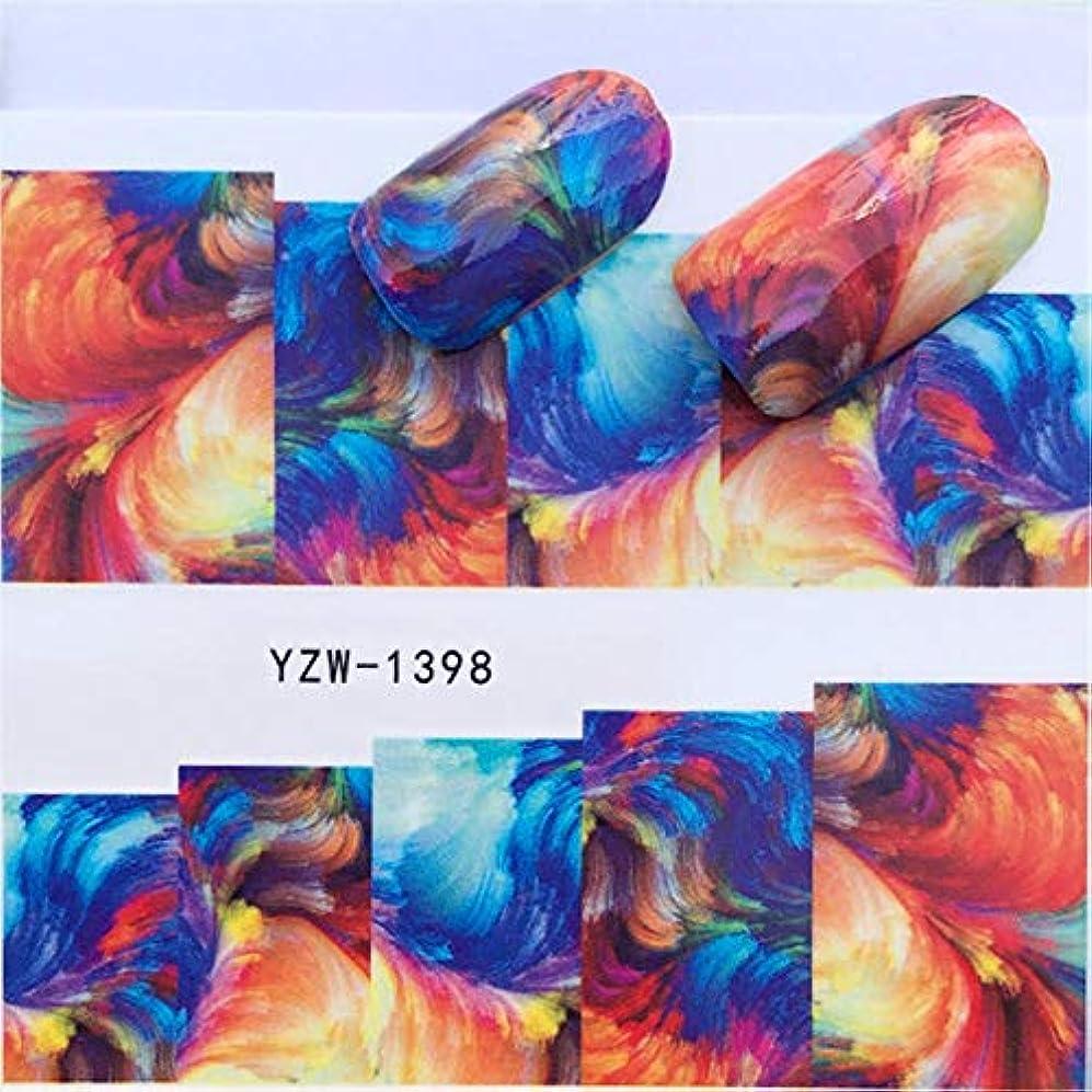 荒らすキャンセル飛躍SUKTI&XIAO ネイルステッカー 1シートカラフルな水彩花Parttenネイルスライダーアート水転写ステッカーネイルアートデコレーションデカールマニキュア、Yzw-1398