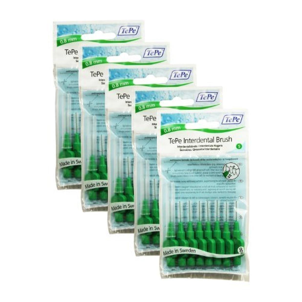 リハーサル印象的仮定TePe Original Interdental Brushes, Green (0.8 mm), 40 by TePe