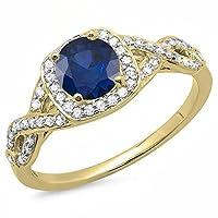 14Kゴールドブルーサファイア&ホワイトダイヤモンド旋回分割シャンクヘイロー婚約リング