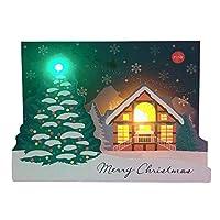 サンリオ クリスマスカード 洋風 ライト&メロディ ポップアップ 松任谷由実 ツリーとロッジ S7304