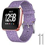 for Fitbit Versa Band, Ausexy Luxury Fashion Woven Fabric Replacement Accessories Wristband Fitness Sport Straps for Fitbit Versa