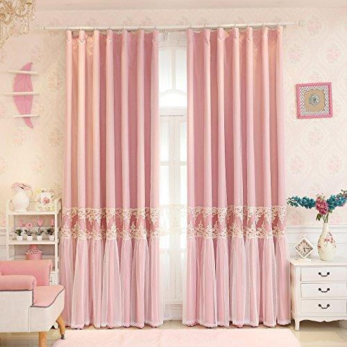 ピンク 姫系 刺繍 カーテン スカートのようなフリル 超綺麗 エレガント