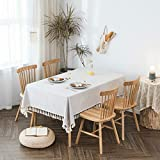 """Villa Feel Textured Fabric Tablecloth- Waterproof Heavy Weight Cotton Linen Fabric Dust-Proof Table Cover for Kitchen Dinning Tabletop Decoration(54"""" x 70"""" Rectangular-Beige Texture)"""