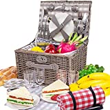 BRIAN & DANY Deluxe Picnic Basket 4 Person Baskets with Unique Picnic Mat and Stainless Steel Cutlery