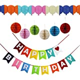 MeriCino Happy Birthday Banner Decorations Set with Colourful Pom Pom Balls & Garland, Set of Extra Large Honeycomb Balls - Birthday Supplies