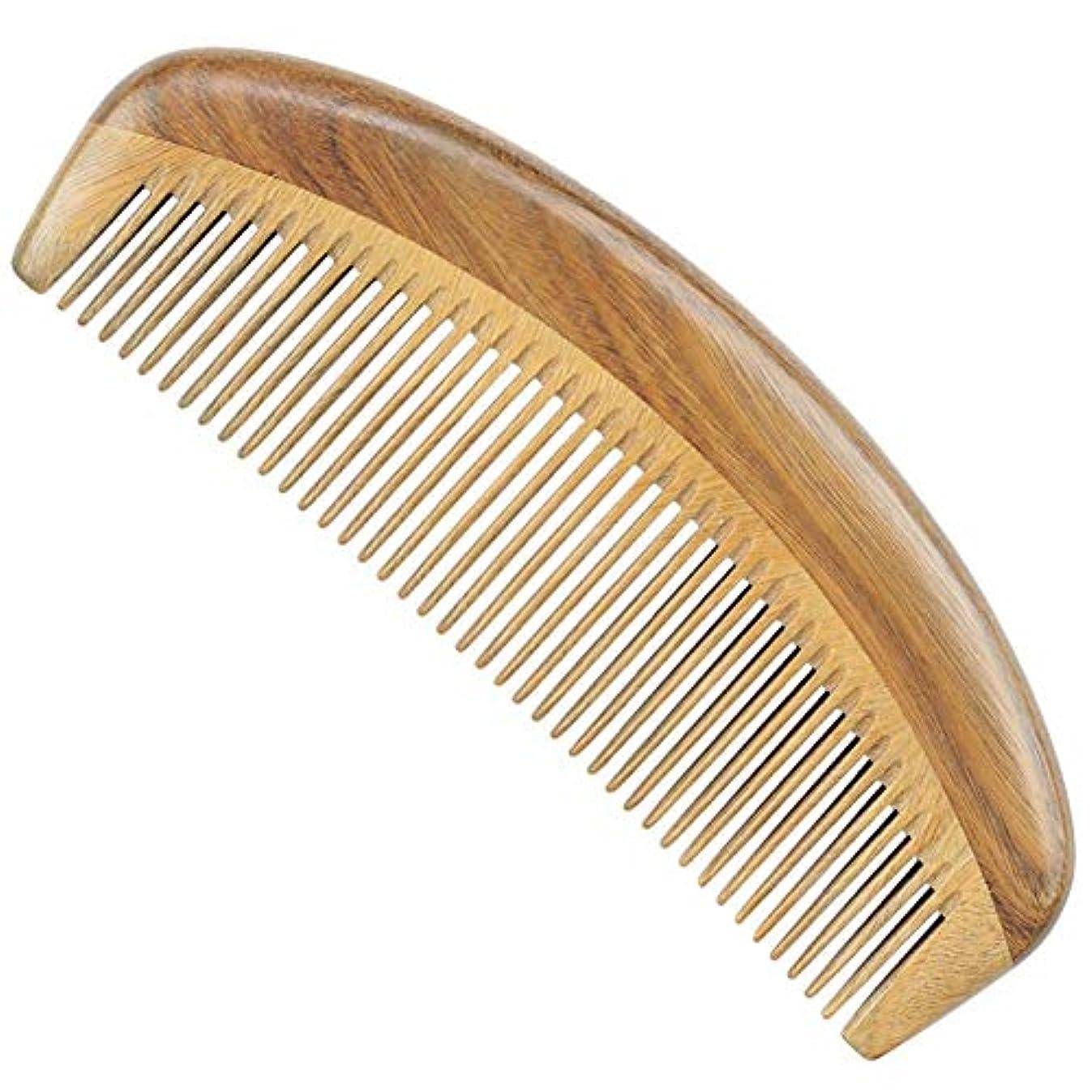 オン誤って霧Guomao 白檀、木の櫛の半月の緑白檀の櫛Stalklessの長い歯の木の櫛 (Size : 15*5.3 cm)