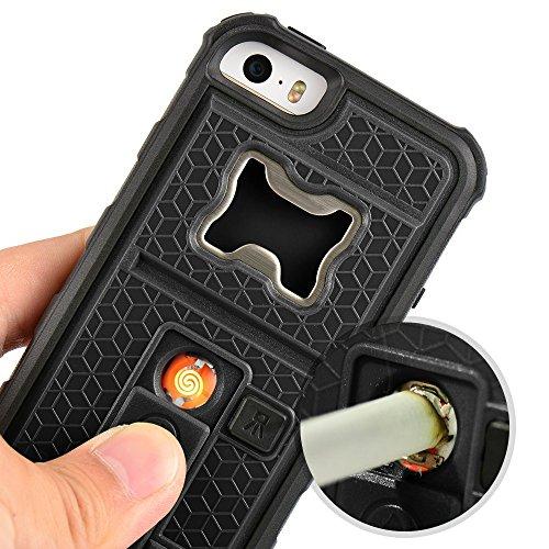 ZVE 多機能 iPhone5 ケース iPhone SE ケース アイフォン5S ケースライター 栓抜き カメラ三脚機能を付くケース 4インチ カバー 耐衝撃 耐震 防塵 衝撃吸収 (ブラック iphone5S/SE/5C) …