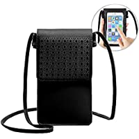 Women Small Crossbody Bag, Portable Lightweight Cell Phone Pouch Purse Wallet with View Window Touch Screen