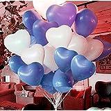 ハート 型風船 ハートバルーン 約100個 空気入れ ポンプ ピンクの リボン 3点セット 結婚式 イベント セレモニー (青50個&白50個セット)