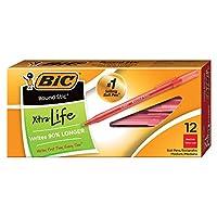 Bic Round Sticボールペン, Medium Point ( 1.0MM )、赤、12タブレット( 3パック)
