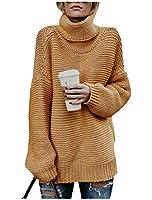 Candiyer 女性ロングスリーブセーター固体カジュアル週末ニットウェアシャツ yellowish brown L